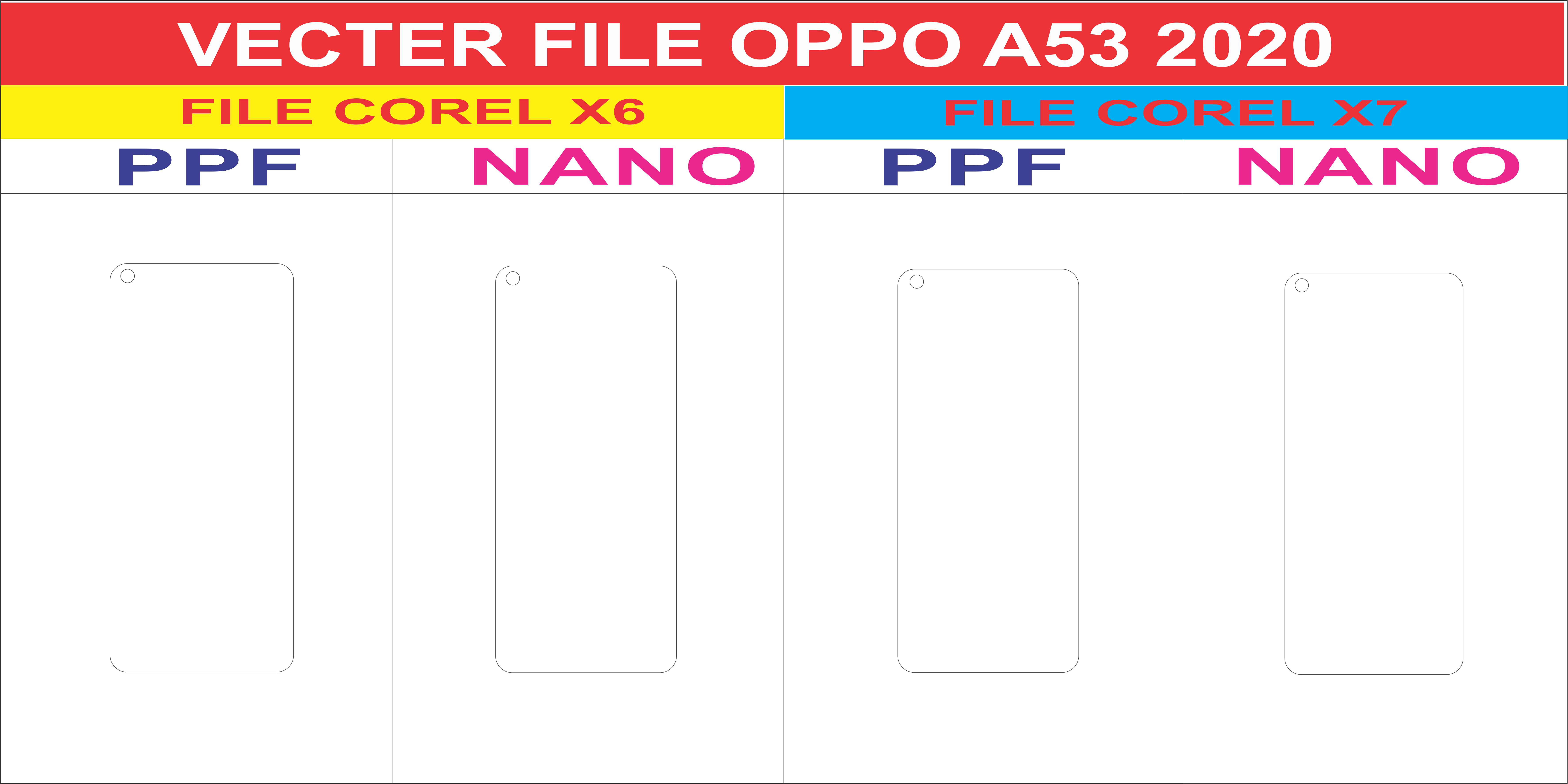 Free File Cường Lực OPPO A53 2020 Template Vector
